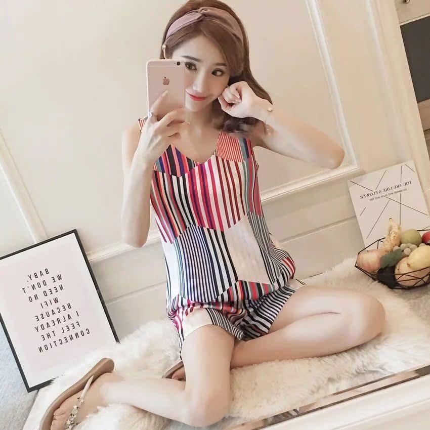 睡衣女夏冰丝短袖韩版清新学生少女背心家居服真丝可外穿两件套装