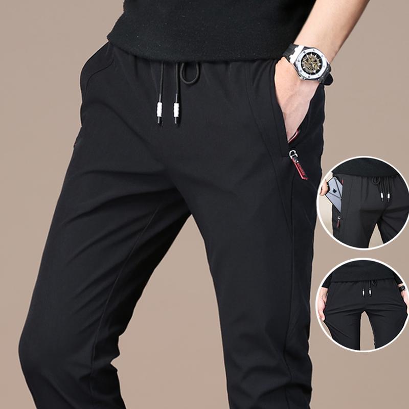 休闲裤男裤子秋季运动裤韩版潮流修身男士黑色宽松加绒裤子速干裤