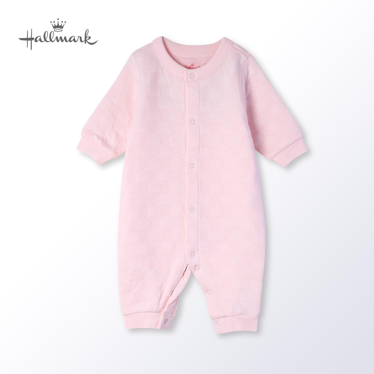 Hallmark贺曼冬季女婴儿服夹棉布保暖连体衣宝宝连体睡衣家居爬服