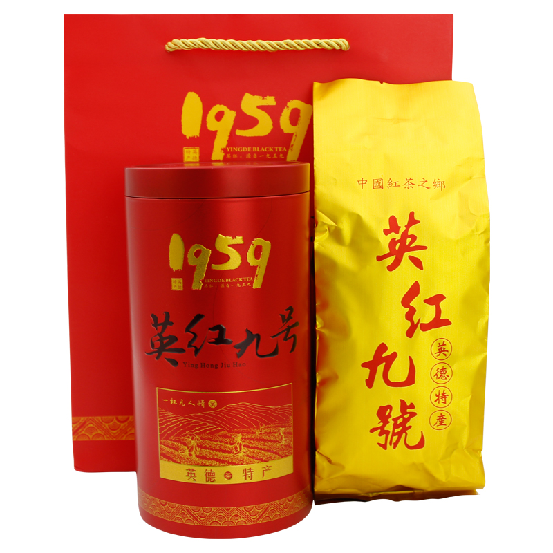英德特产英德红茶金毫毛英红九号茶叶罐装红茶150g每两罐送礼袋