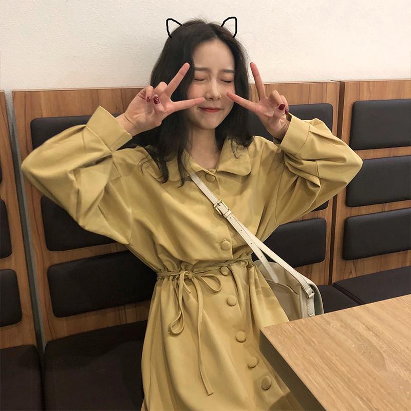 Qiiiyy Three春复古少女清新显白灯收腰宽松衬衫连衣裙中长裙黄