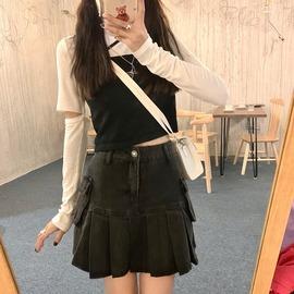 两件套上衣女设计感可拆卸长袖T恤外搭黑色小吊带背心初秋叠穿