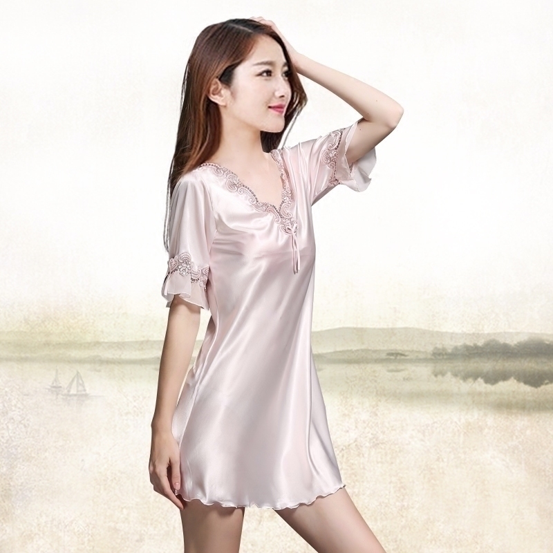 新品性感真丝睡裙女士夏V领薄款短袖大码优质桑蚕丝绸睡衣包邮