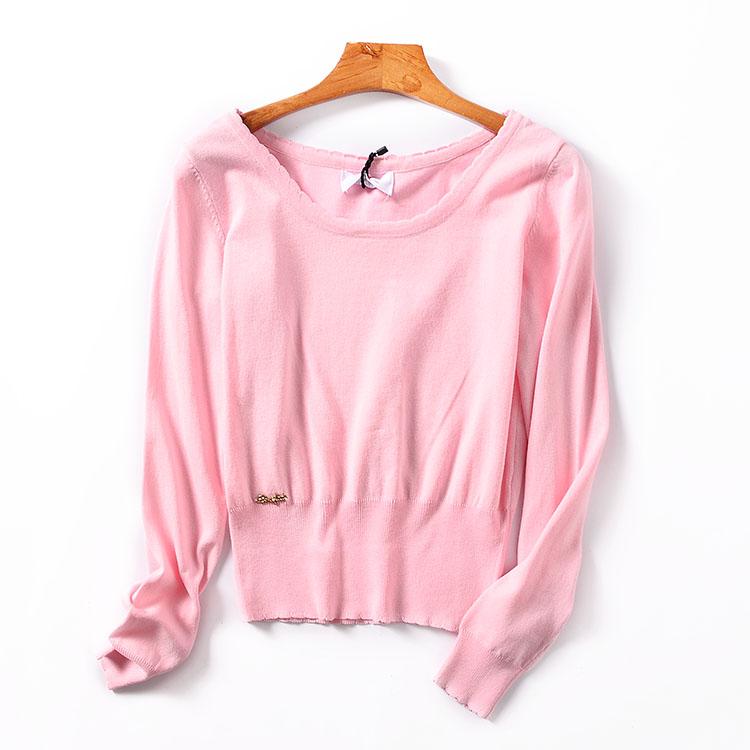 【包邮】I¥13 秋季新款长袖低圆领宽松显瘦套头上衣韩版女针织衫
