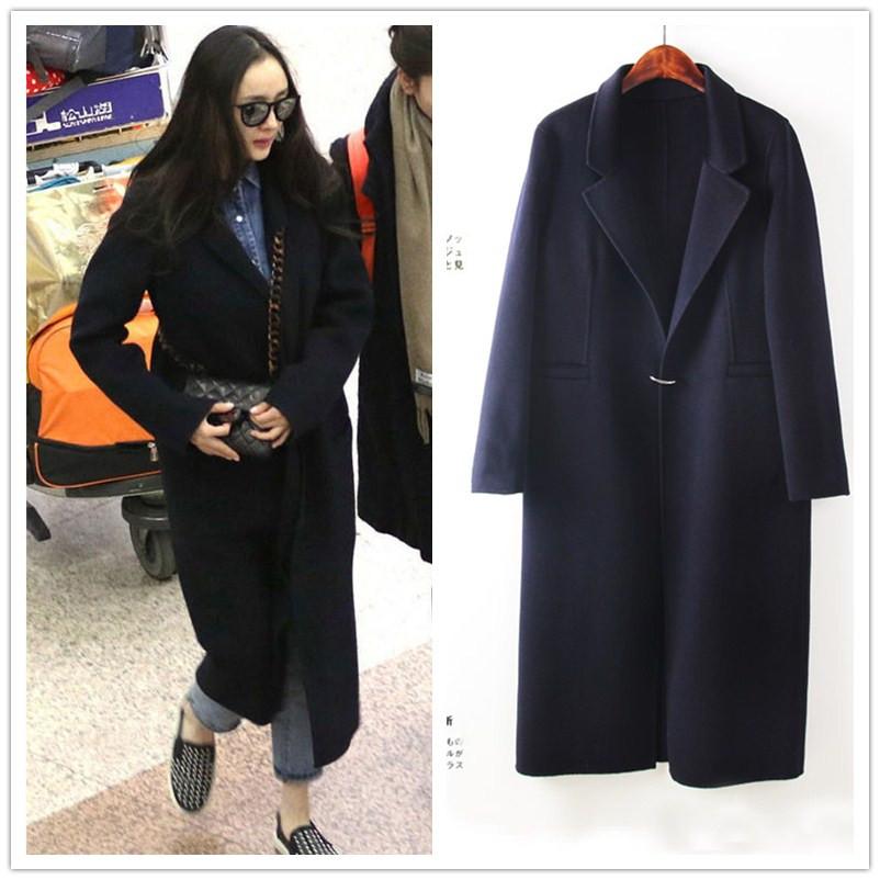 2017韩版新款宽松羊毛呢外套中长款手工双面呢羊