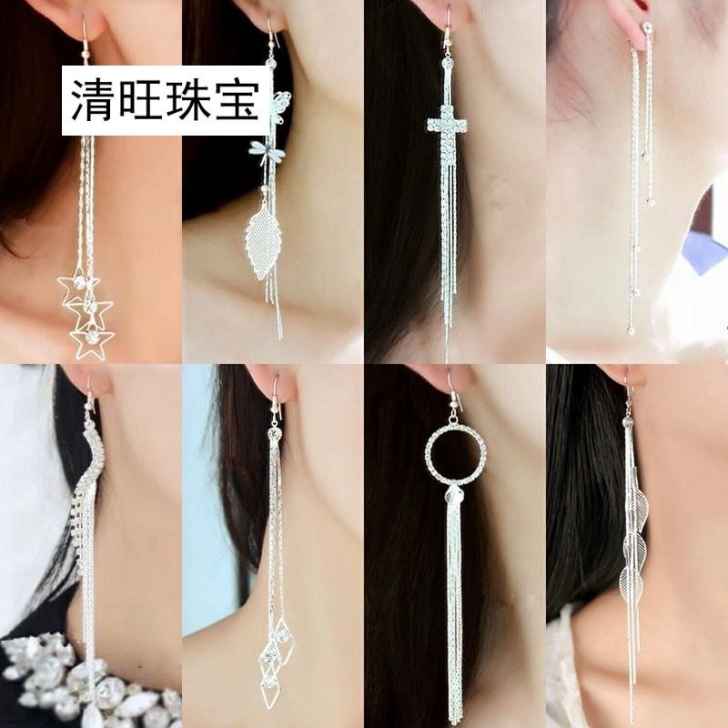 925银1耳环长款 韩版水钻耳坠时尚装饰品流苏夸张耳环女显瘦