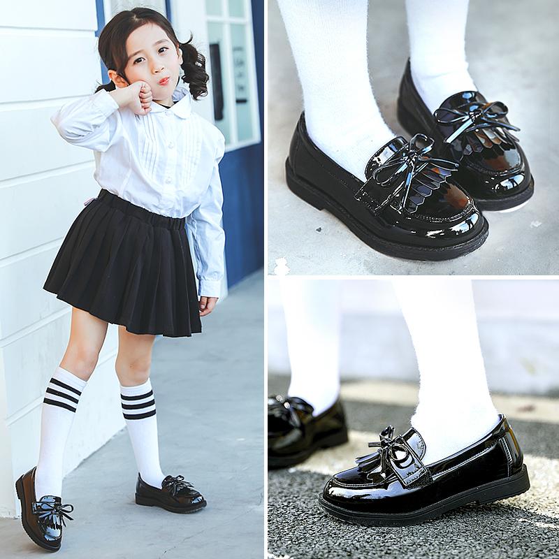 女童鞋黑皮鞋学生2019新款大小童春演出韩版儿童豆豆公主英伦风单