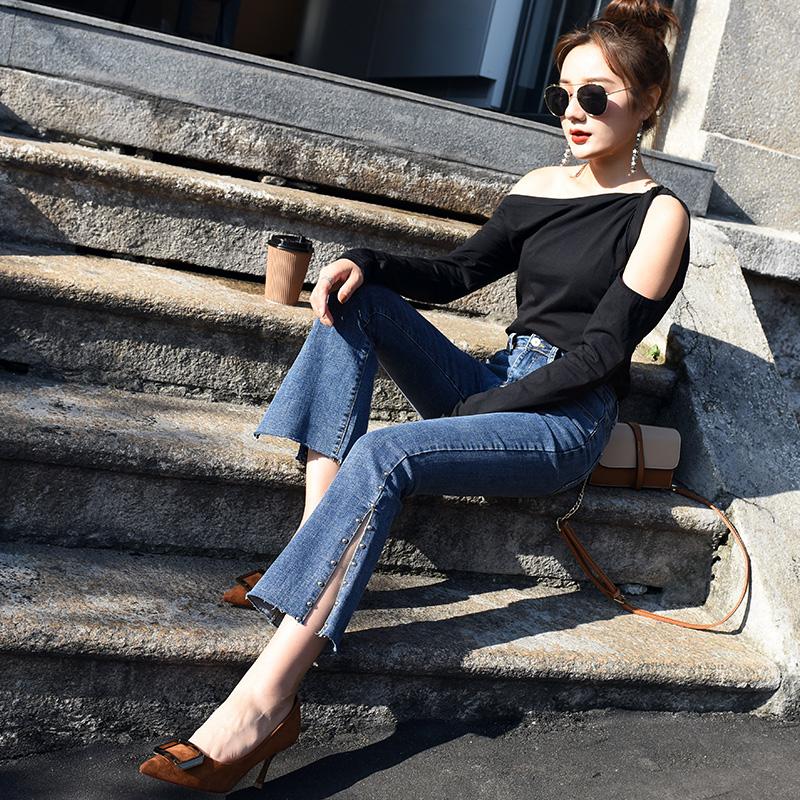 微喇高腰牛仔裤女宽松显瘦2019秋季新款修身双排扣直筒老爹萝卜裤