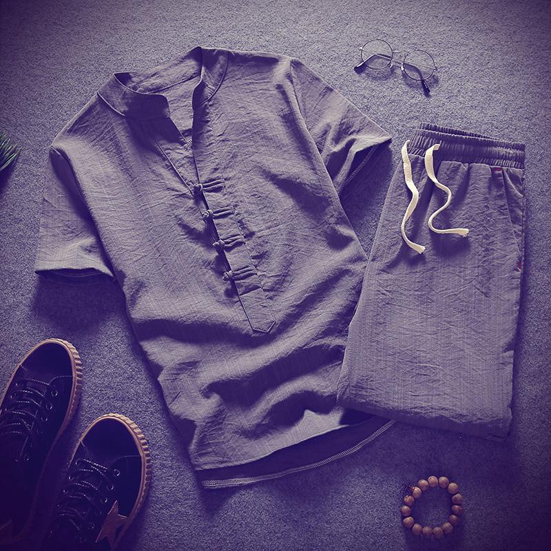 2020夏季男士亚麻新款中国风套装潮流立领棉麻衬衫C203-8103-P65