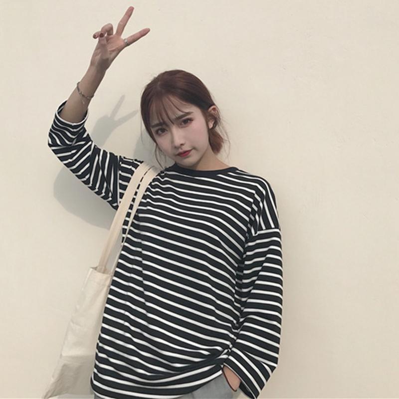 秋冬新款韩版原宿风bf上衣服潮宽松条纹长袖T恤女学生加绒打底衫