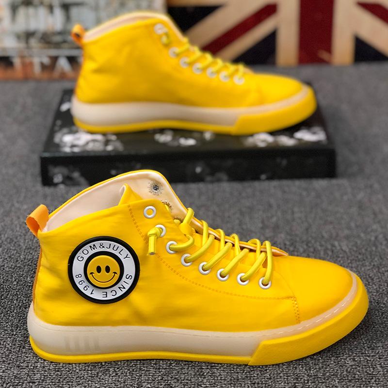 帆布鞋欧洲站高帮布鞋黄色笑脸时尚潮流男鞋青年不系带高邦男板鞋