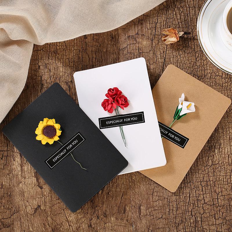 圣诞节创意感恩手工生日小卡片定制感谢留言复古祝福代写干花贺卡