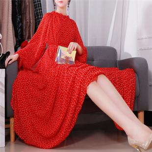 连衣裙秋装2020年新款法式波点雪纺气质秋季长袖大码打底长裙秋冬