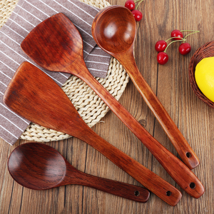 Wooden shovel non-stick special household cooking shovel high temperature resistant wooden kitchenware long handle spoon rice spoon spatula set