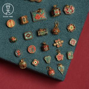 谷太珠宝  24k黄金古法手工制作烧蓝足金手链宝宝锁如意配饰背云
