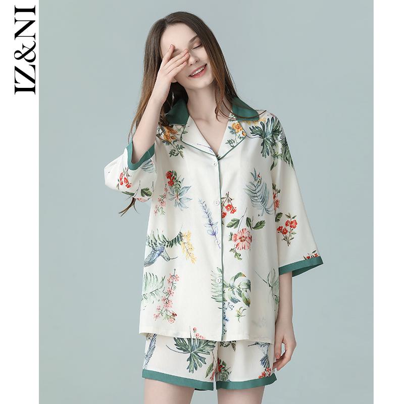 IIZZINI原创 2020睡衣女夏薄款冰丝中国风黄蔷薇花短裤家居服套装