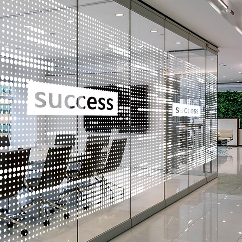 玻璃大门贴纸logo办公室装饰静电无胶几何图案透明膜可来图定制图片