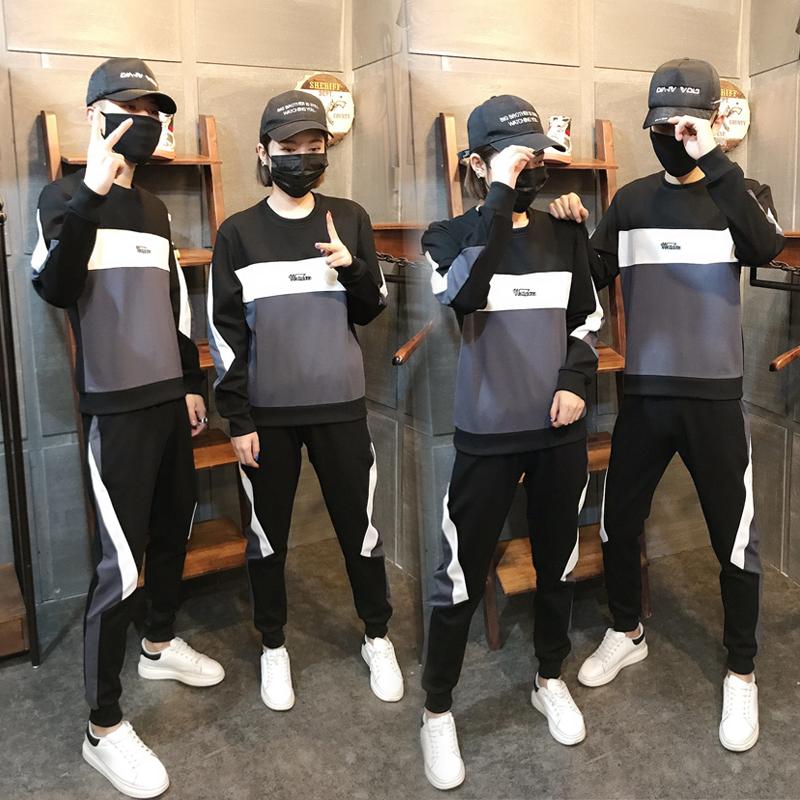运动套装男2020春季新款刺绣字母拼接卫衣女情侣装休闲韩版两件套