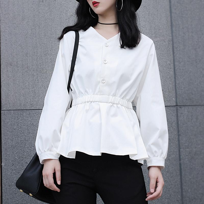 白色松紧高腰修身显瘦V领荷叶边蝙蝠袖原创设计衬衫学生百搭上衣