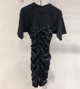 2020早秋新款大王时尚个性褶皱设计修身显瘦中长款连衣裙女装