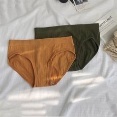 纯色抗菌运动风女内裤中腰性感纯棉舒适提臀无痕三角裤两条装女士
