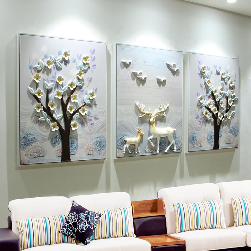 三联画装饰客厅沙发背景墙壁挂画3D立体浮雕北欧麋鹿现代简约电箱