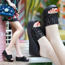 真皮拖鞋女jx2丽纯爱夏cp鞋外穿坡跟厚底水钻凉鞋高跟一字拖