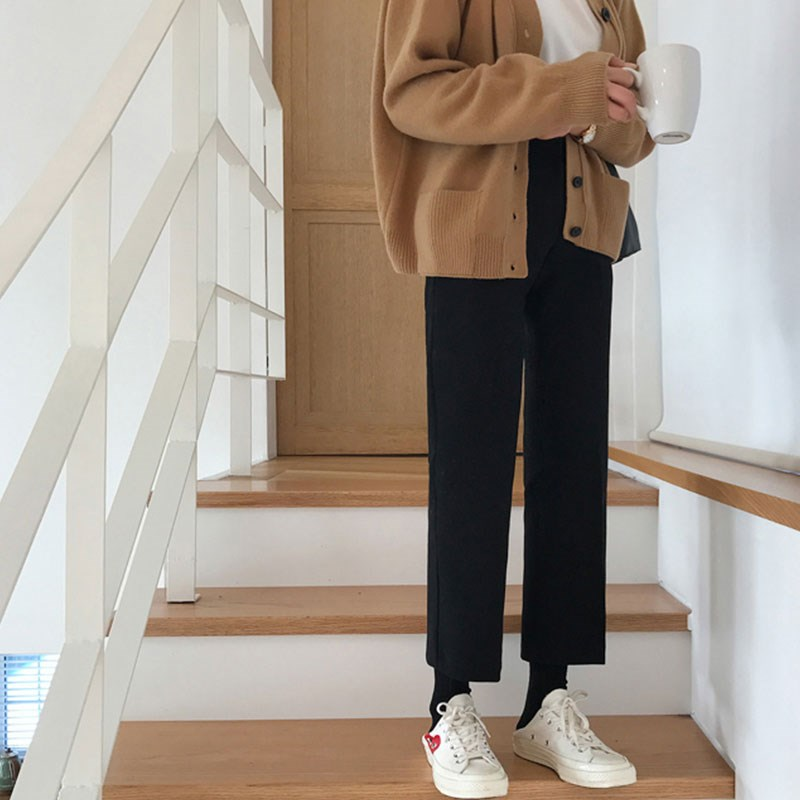 坠感阔腿裤女高腰小个子直筒九分八分西装裤学生150cm宽松韩版春8