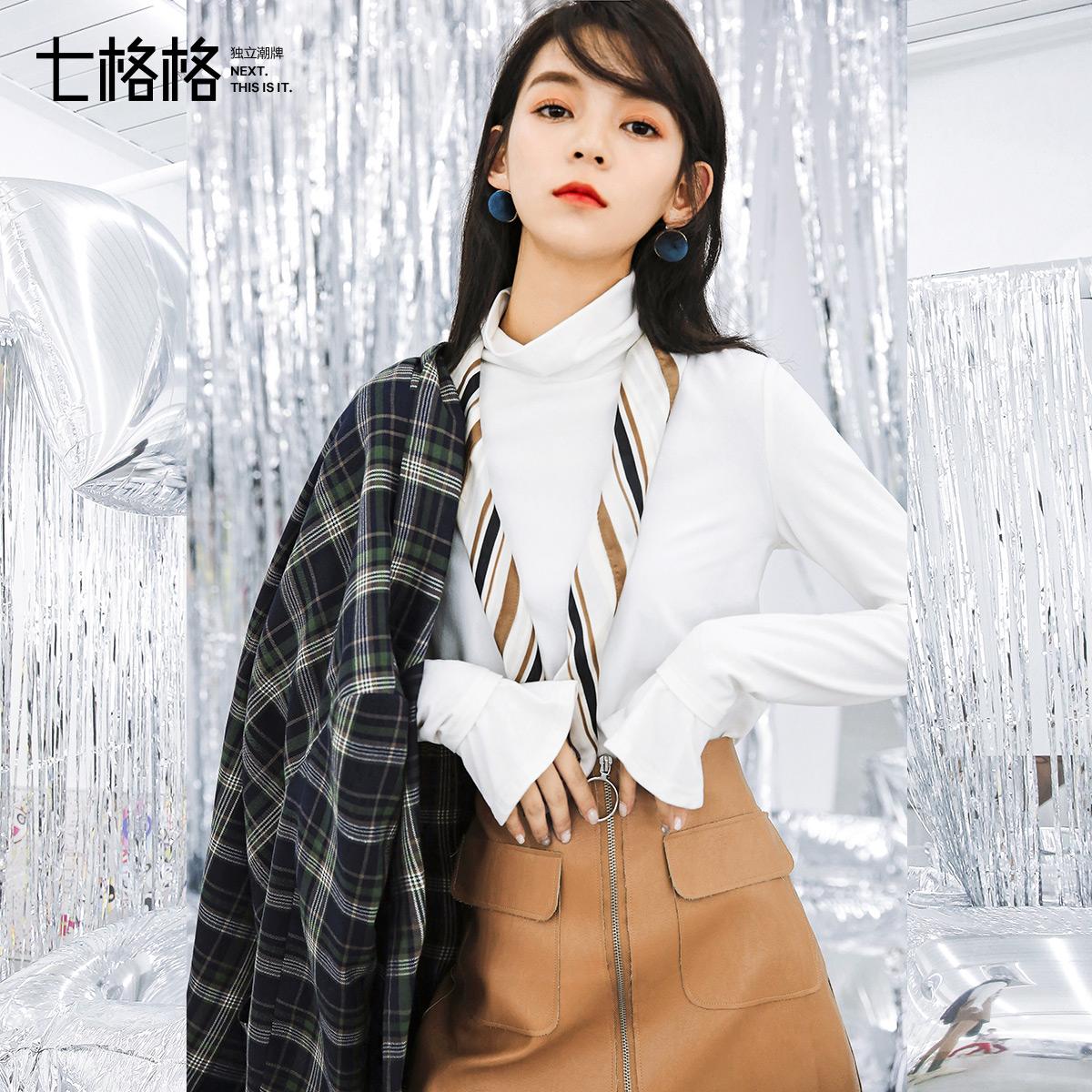 秋天上衣韩版半高领打底衫修身秋装女2018新款中长款长袖t恤冬季
