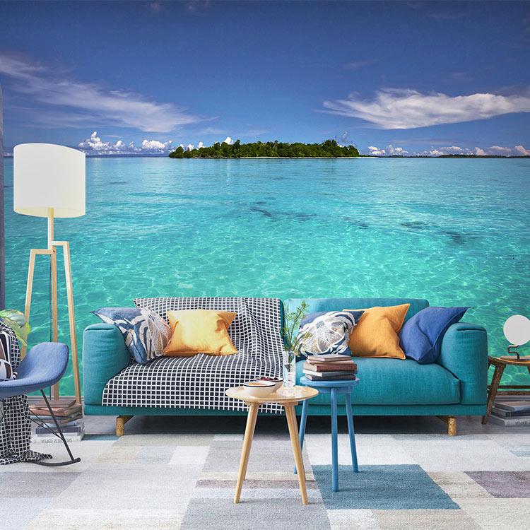 海景壁纸3D延伸视觉空间墙布客厅电视背景墙风景旅行社大海墙纸