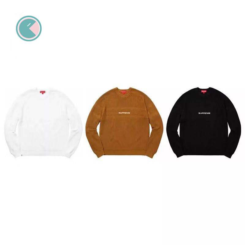 Supreme 18SS CHEST STRIPE RAGLAN SWEATER小logo毛衣 黑色