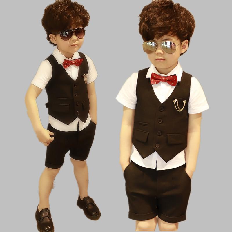 男童小主持人礼服套装夏季儿童短袖西装男孩钢琴表演出服装走秀潮