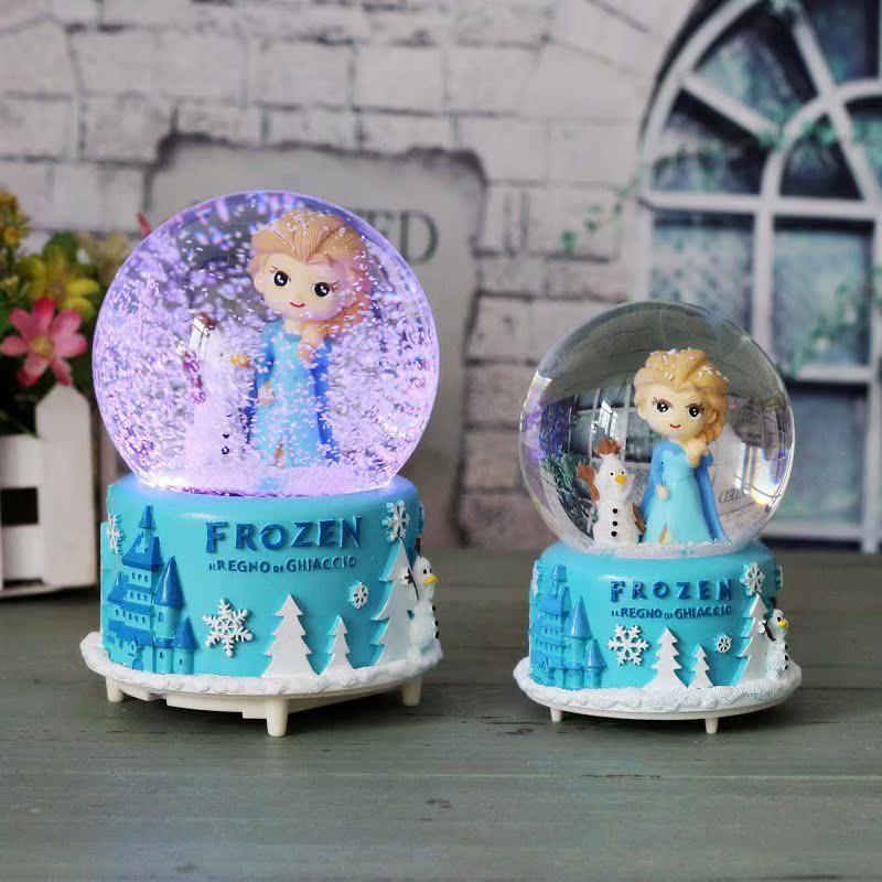 冰雪奇缘爱莎公主水晶球带灯旋转音乐盒铁塔帆船八音盒生日礼物