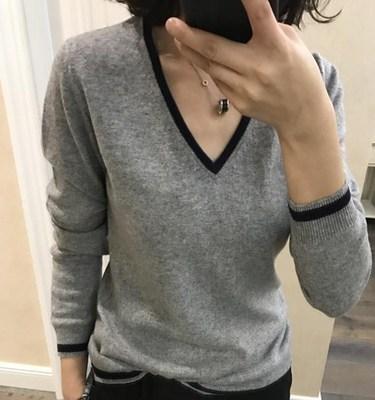 温泰v领秋冬女式韩版时尚长袖针织加厚毛衣针织衫宽松大码毛衣女