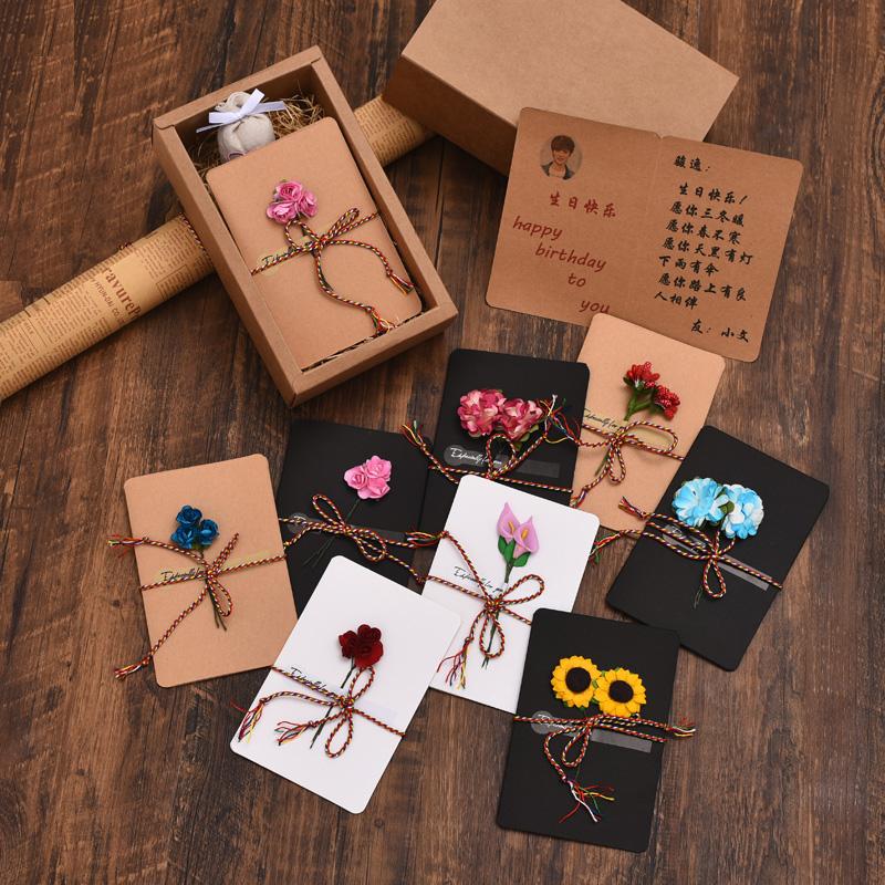 中国风素雅干花贺卡礼盒 情人节生日庆典通用手工对折卡片定制