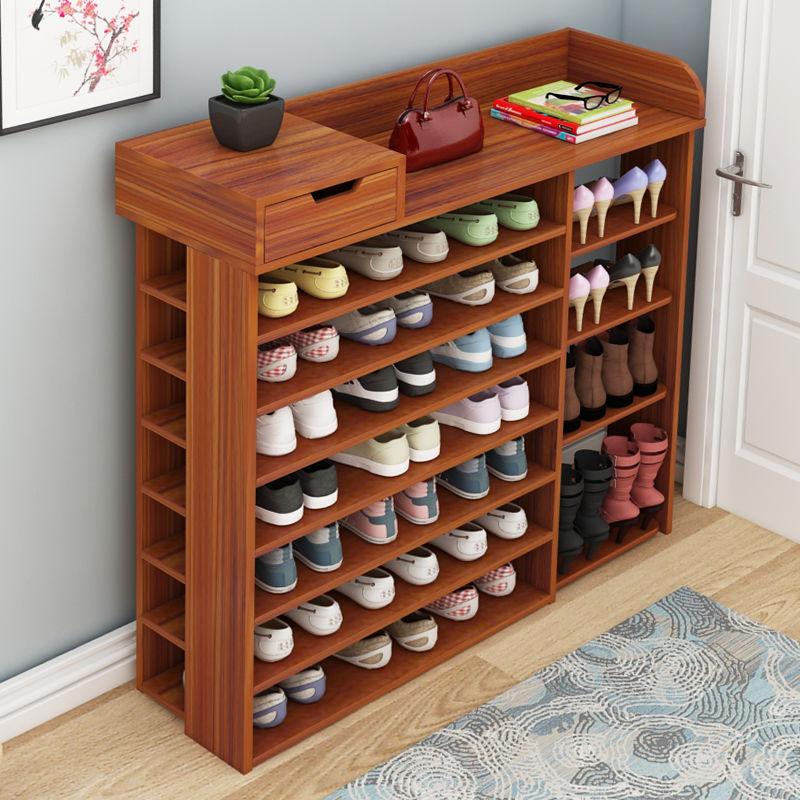 鞋架简易多层收纳家用经济型实木色置物架子门口大容量省空间鞋柜