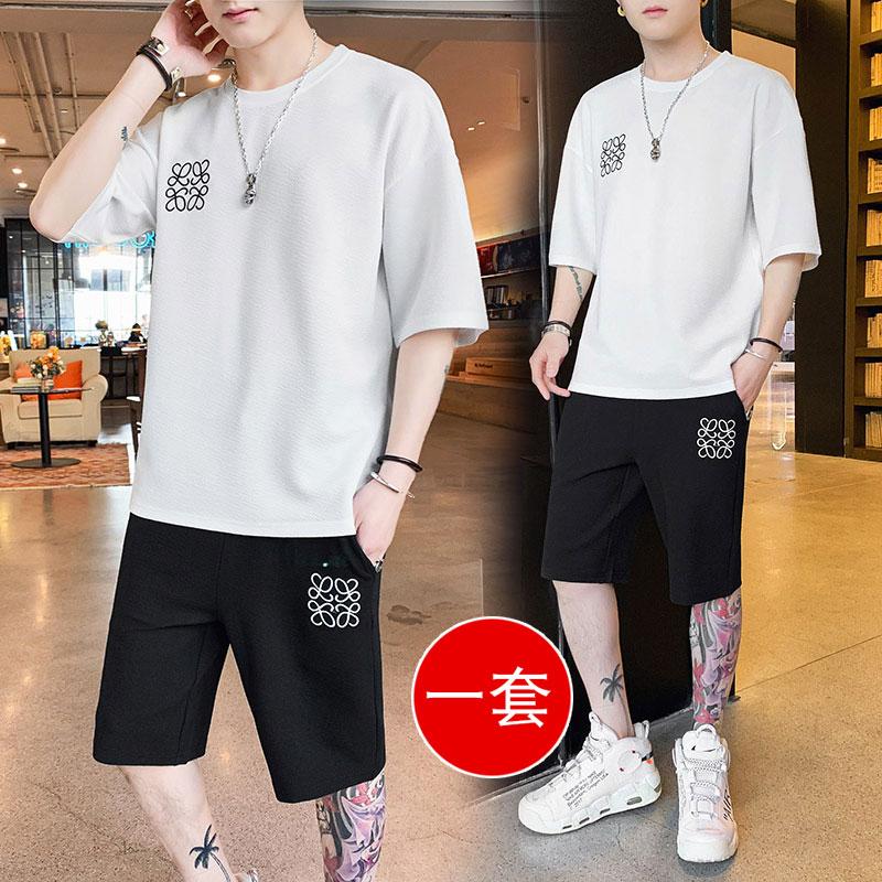 夏季短袖t恤男士运动套装2020新款帅气一套搭配潮流宽松休闲衣服