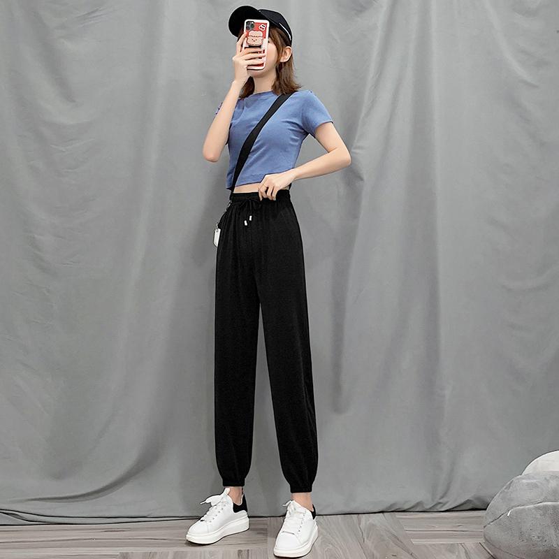冰丝运动裤女宽松束脚夏季薄款高腰百搭显瘦垂感阔腿休闲灯笼裤子