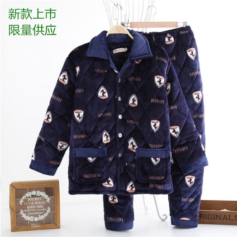 <b>新冬季男珊瑚绒法兰绒保暖家居服套装三层加厚</b>