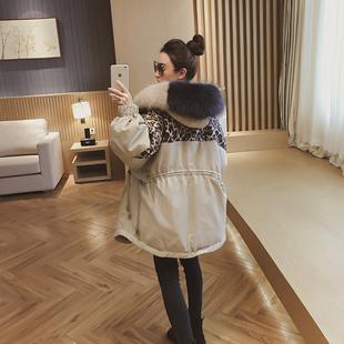 大毛领棉衣女2018冬季新款韩版宽松加厚羽绒棉服外套棉袄中长款潮