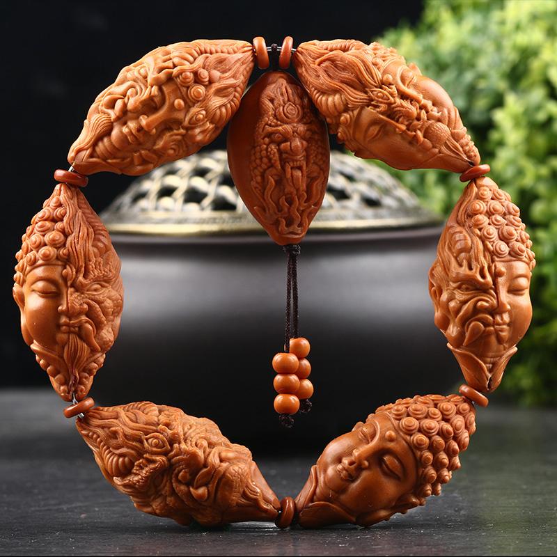 润岚橄榄核手串一念之间 手工核雕2.0大籽橄榄胡刻雕文玩男女手链