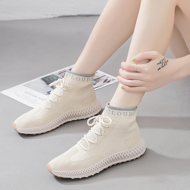 春秋新弹力袜子鞋女2020ins超火的运动鞋韩版高帮休闲鞋透气袜靴