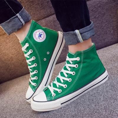 2019春季高帮情侣帆布鞋土黄色彩色宝蓝紫色绿色男女学生布鞋男鞋