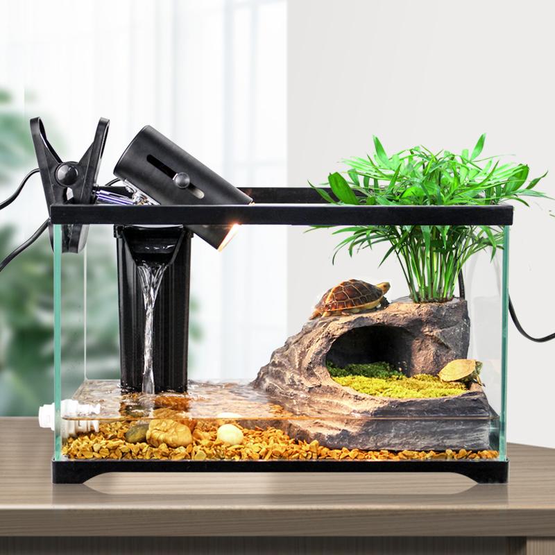 养专用家用带晒台饲养箱生态别墅造景玻璃小大型鱼龟混养盒乌龟缸