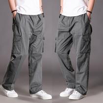 夏季男薄加肥大码直筒大口袋休闲户外纯棉宽松工装长装运动肥佬裤