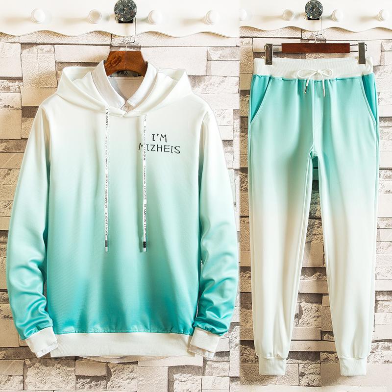 2019新款短袖t恤两件套男夏季休闲跑步运动套装卫衣短裤一套潮流