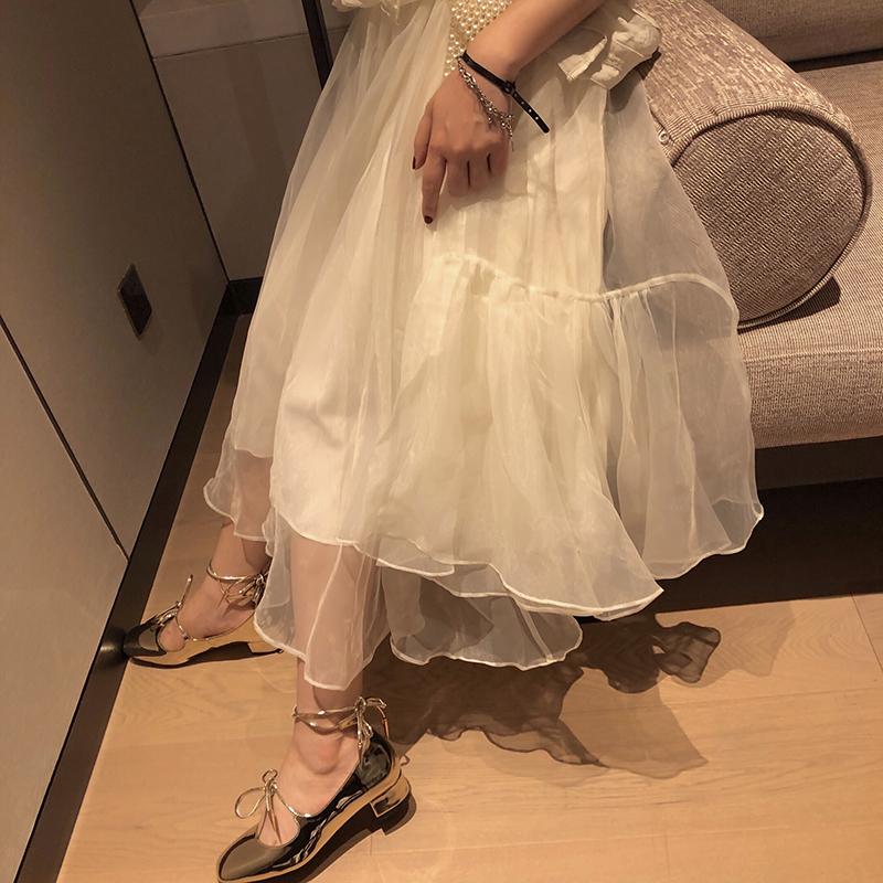 十早 《白朱樱》超仙重工中长款半裙白色仙气网纱裙女超仙蛋糕裙