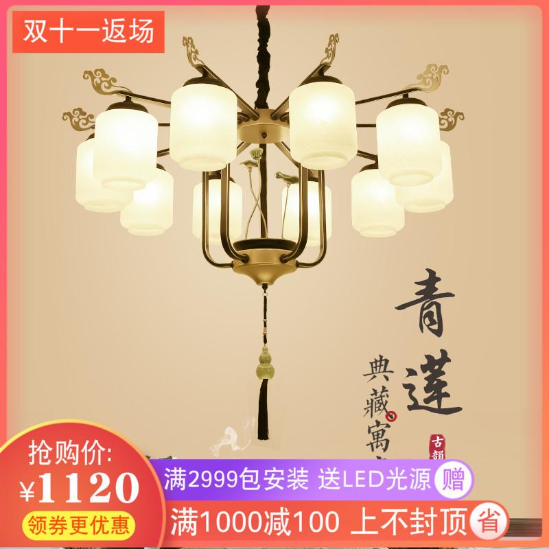 新中式吊灯客厅中国风简约现代复式楼梯别墅大气酒店卧室餐厅灯具-中忆山灯饰