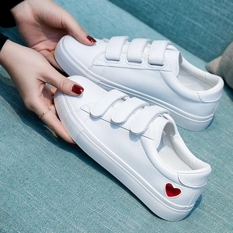 新款春秋鞋子女学生小白鞋女百搭运动鞋魔术贴平底板鞋休闲鞋