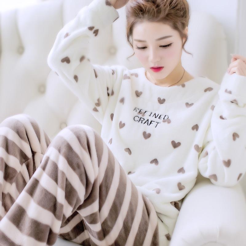 冬季珊瑚绒睡衣女长袖秋冬保暖加厚加绒甜美可爱法兰绒家居服套装